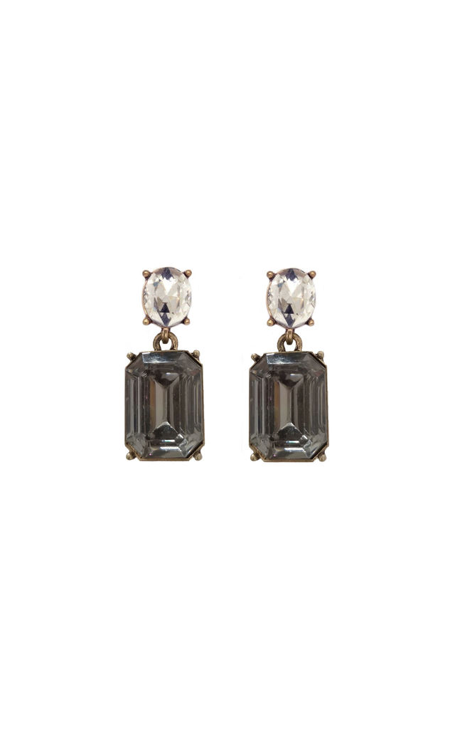 Simple gem drop earrings in grey & crystal by LAST TRUE ANGEL