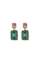 Simple gem drop earrings in green & orange by LAST TRUE ANGEL