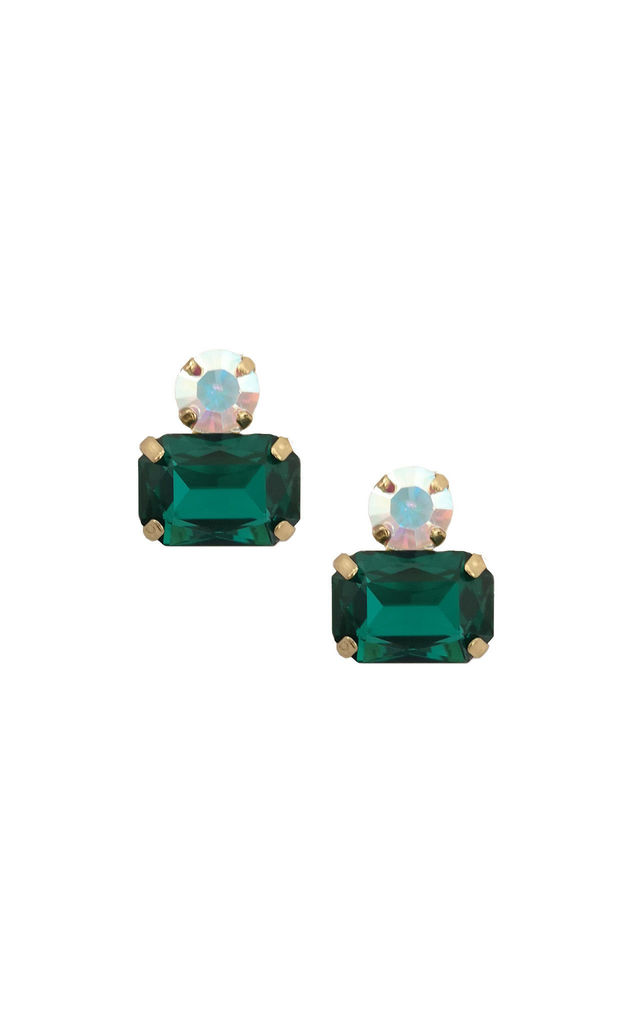 Twin Gem Earring in Emerald Green by LAST TRUE ANGEL