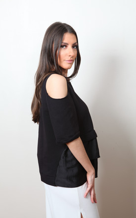 Cold Shoulder Frill Top in Black by Pink Flame