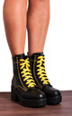 Black Chunky Platform Lace Ups Ankle Boots with Yellow Stitching by Shoe Closet