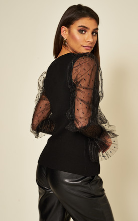 Black V neck rib jumper with balloon mesh sleeves by Off The Railz