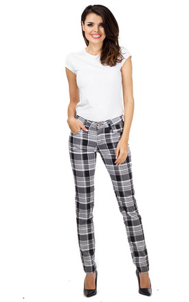 Black & White Tartan Checked Slim Trousers by Glamour Outfitters