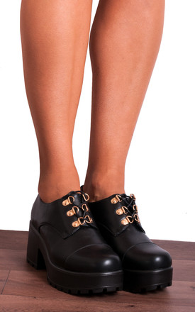 Black Cleated Platforms Ankle Boots Shoes by Shoe Closet