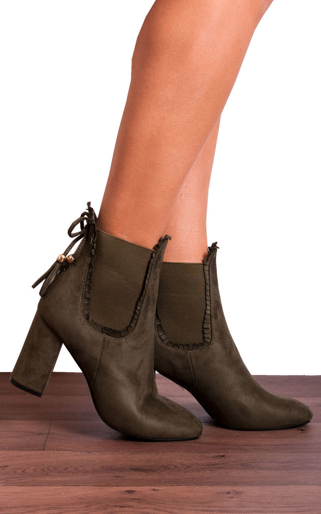 Khaki Green Frill Chelsea Ankle Boots High Heels by Shoe Closet