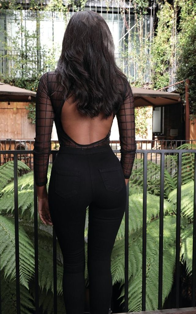 Nikki Black Check Mesh Bodysuit by UMAY