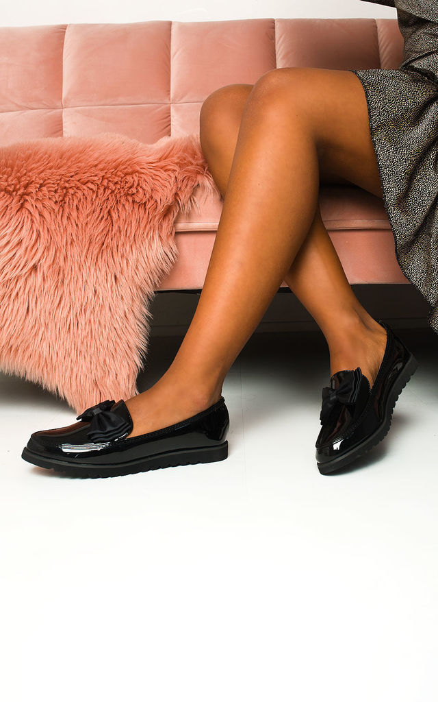 Mia Patent Bow Loafer in Black by IKRUSH