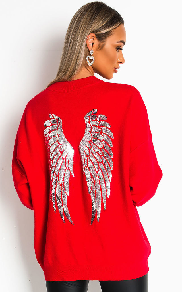 Alice Wing Embellished Jumper in Red by IKRUSH