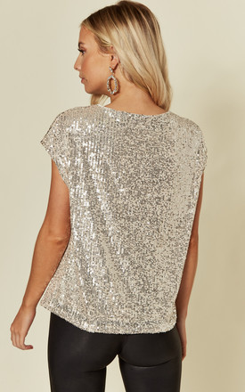 Silver Sequin Boxy Top with Cap Sleeves by KRISP