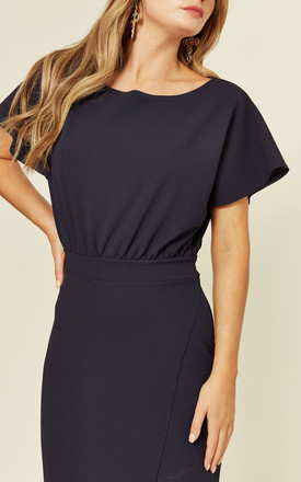 Slash Neck Midi Dress With Waist Tie Detail In Navy by FLOUNCE LONDON