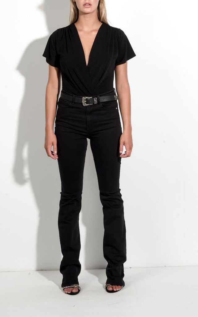 Black Wrap Bodysuit with Flared Sleeves by FreeSpirits