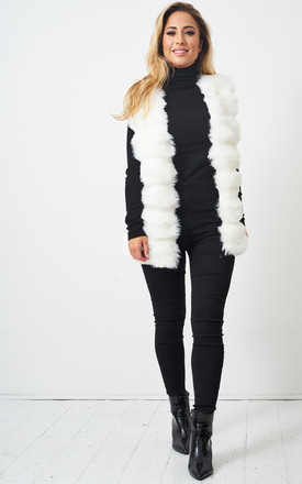 Eleanour Faux Fur Gilet In White by love frontrow