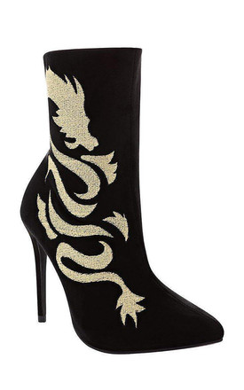 Dragon Embroidery High Heeled Ankle Boots by WANTD