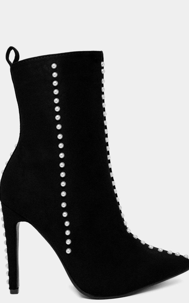 Pearl Studs Black High Heel Ankle Boots by WANTD