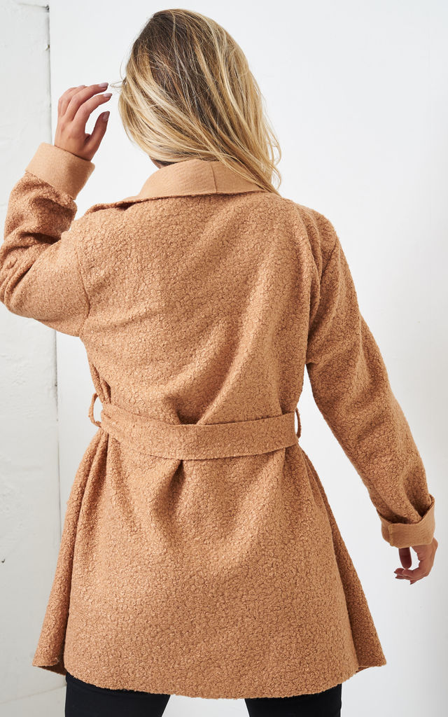 Teddy Camel Borg Waterfall Shawl Collar Coat by love frontrow