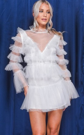 White Mini Dress in Tiered Tulle Frill by LILY LULU FASHION