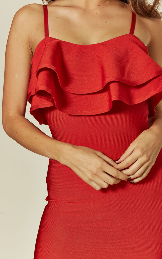 CHARLOTTE Red bandage midi dress with frill by My Bandage Dress