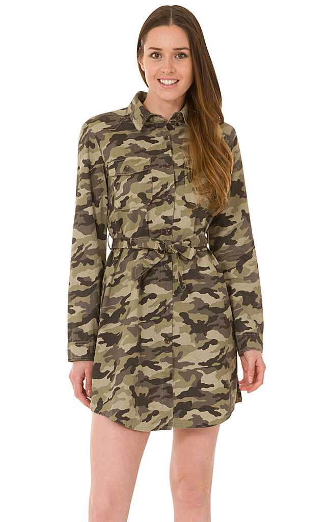 Green Camouflage Army Look Shirt Dress by Glamour Outfitters