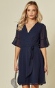 Navy Blue Flute Sleeve Plain Wrap Style Dress by TENKI LONDON