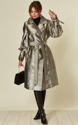 Shine Trench Coat Silver by Jovonna London