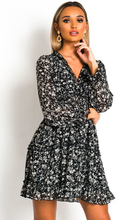 Fleur Printed Frill Dress in Black by IKRUSH