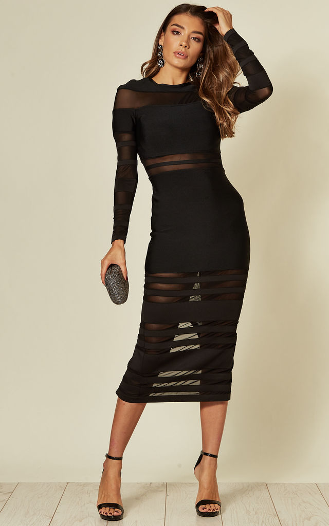 Black long sleeve bandage dress with mesh panels by LOVEMYSTYLE