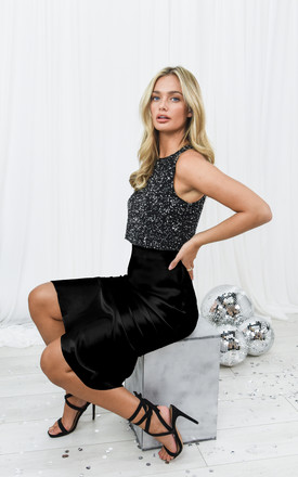 Cara Black Satin Slip Skirt by Style Cheat