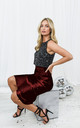 Cara Burgundy Satin Slip Skirt by Style Cheat