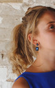 Simple gem drop earrings in navy blue by LAST TRUE ANGEL