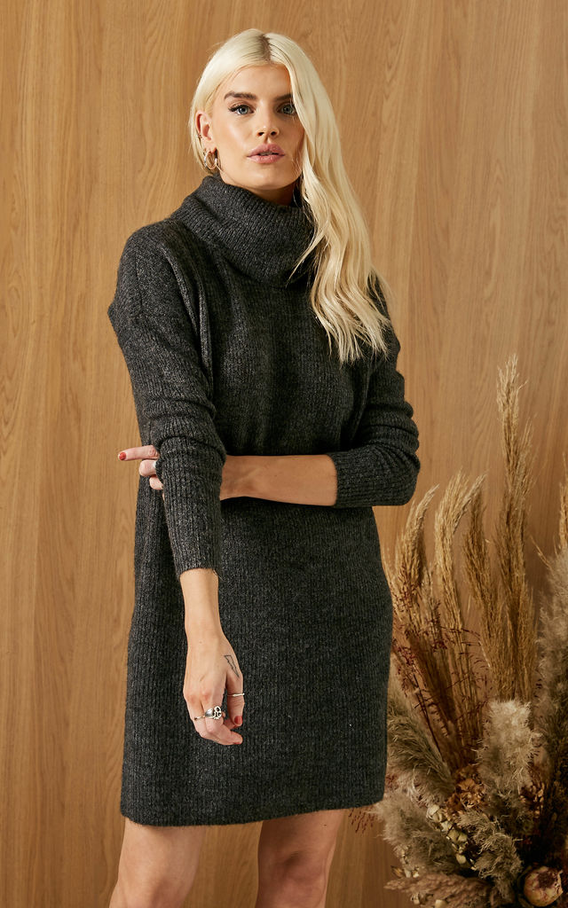 Jumper Dress With Roll Neck In DARK GREY by ONLY