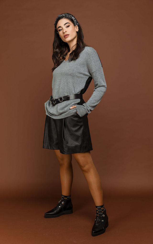 Black Faux Leather Bermuda Shorts by Si Fashion by Conquista Fashion