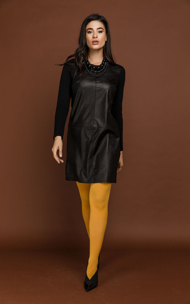 Black Dress with Faux Leather by Si Fashion by Conquista Fashion