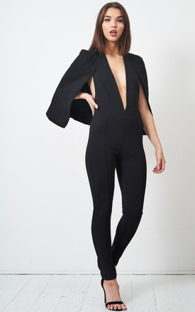 Aubrey Cape Jumpsuit in Black by love frontrow