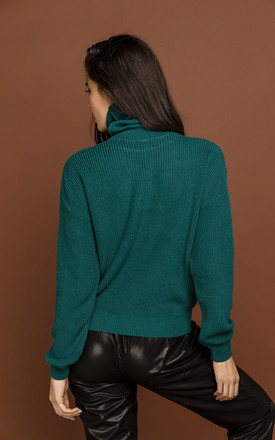Petrol Blue Turtleneck Pullover by Si Fashion by Conquista Fashion