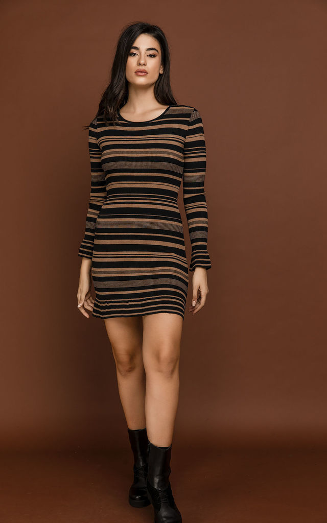 Striped Knit Camel Dress by Si Fashion by Conquista Fashion