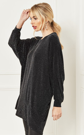 Batwing Top in Black with Silver Shimmer by Bella and Blue