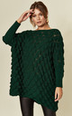 Leaf Weave Loungewear Jumper with Long Sleeves in Emerald Green by URBAN TOUCH