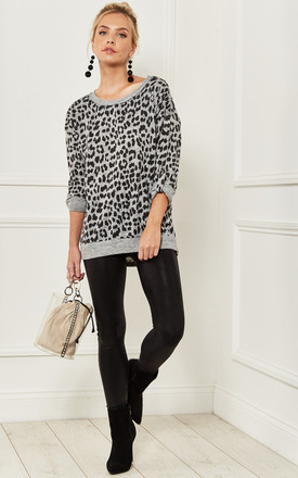 Leopard 3/4 Sleeve Top In Grey by Bella and Blue Product photo