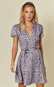 Exclusive Short Sleeved Tie Waist Skater Dress in Purple Dalmation by Glamorous