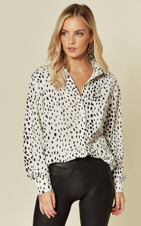 Exclusive Long Sleeve Button Shirt In White Dalmatian Print by Glamorous Product photo
