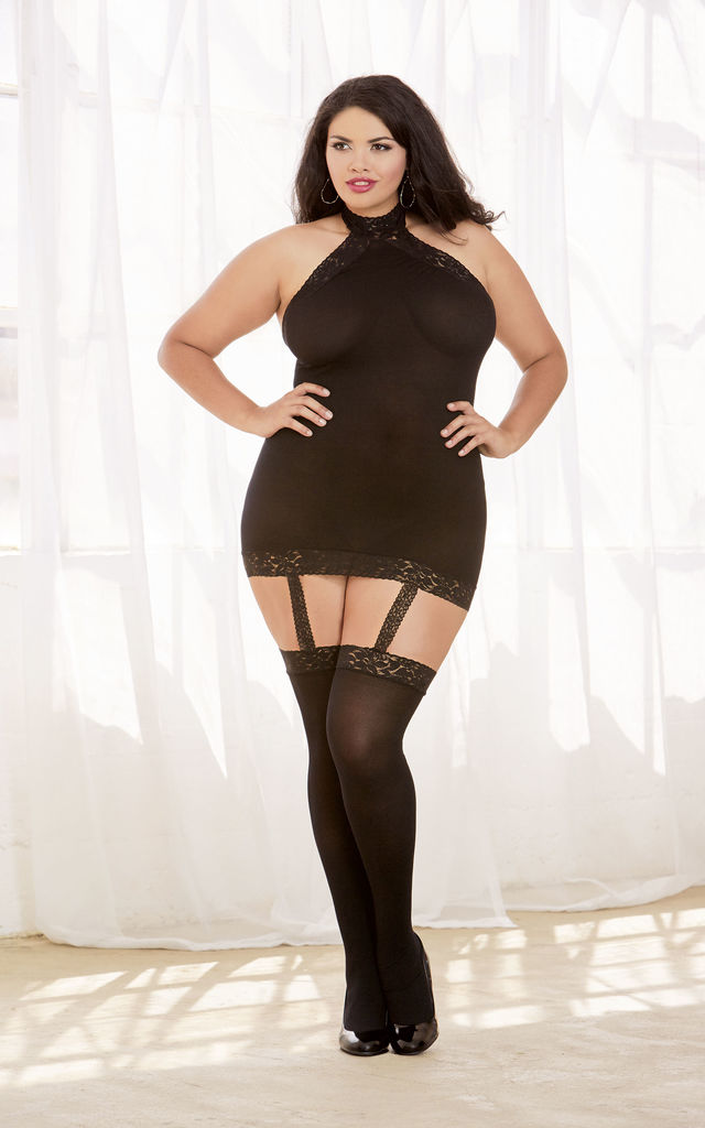Plus Size Black Sheer Garter Dress with Stockings by DREAMGIRL