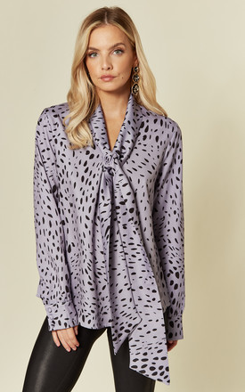 Exclusive Long Sleeve Top With Pussybow In Purple Dalmation by Glamorous Product photo
