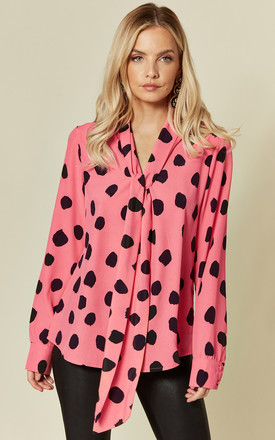 Pussybow Printed Long Sleeve Blouse Pink Spot Print by Glamorous Product photo
