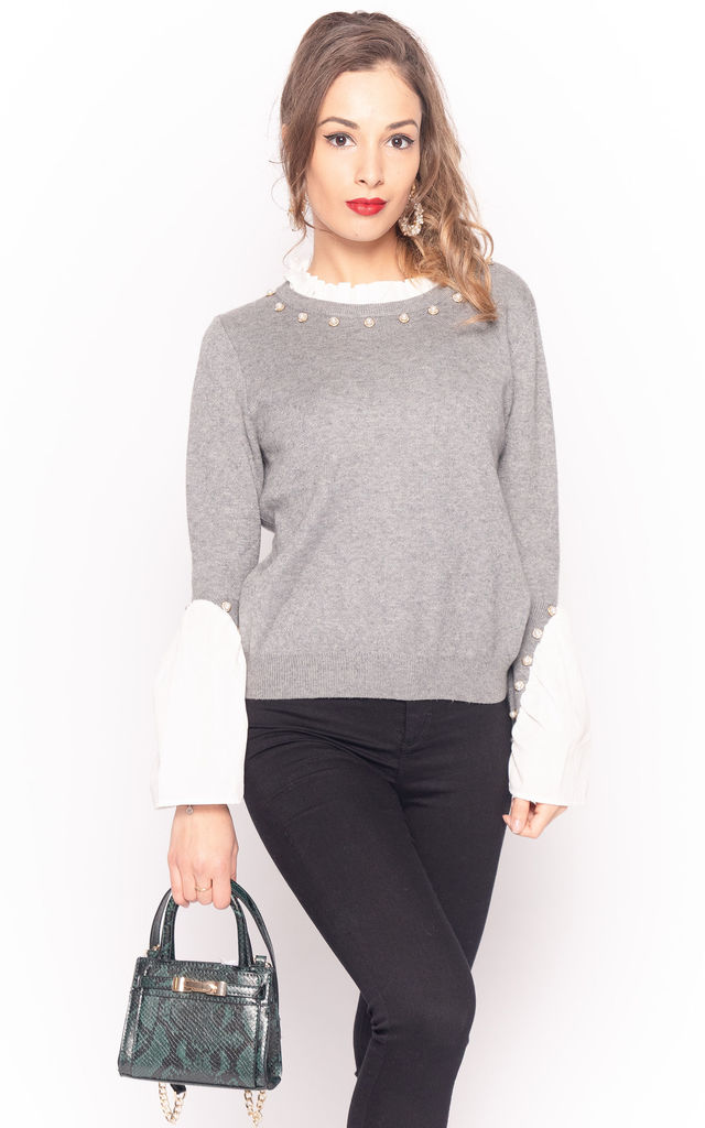 Grey Jumper with Shirt Details & Pearl Embellishments by CY Boutique