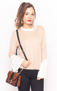 Beige Pink Jumper with Shirt Details & Pearl Embellishments by CY Boutique