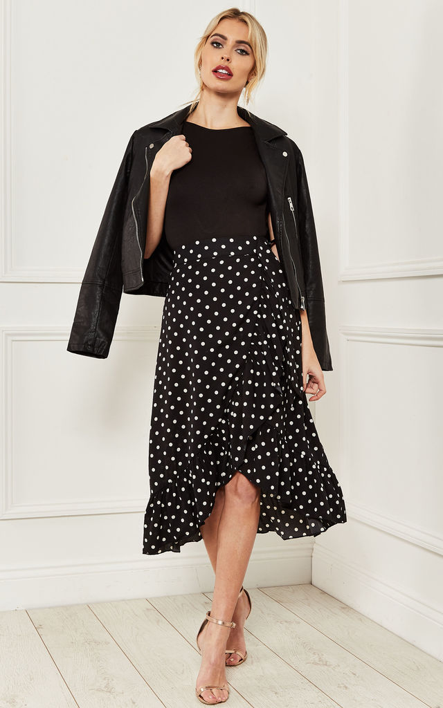 Black ruffle wrap skirt with white dots by Bella and Blue
