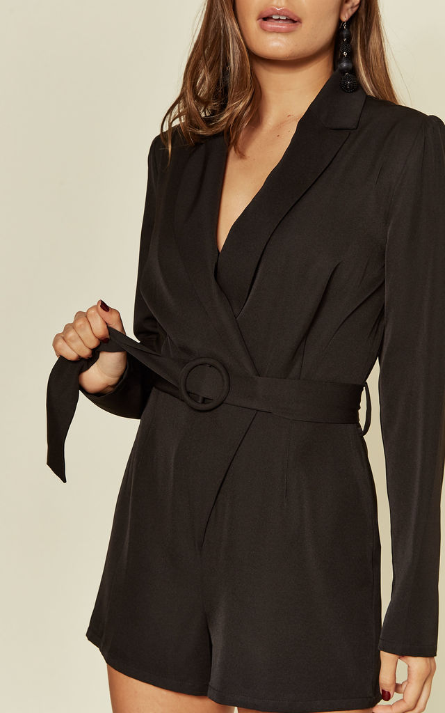 Long Sleeve Blazer Playsuit in Black by Another Look