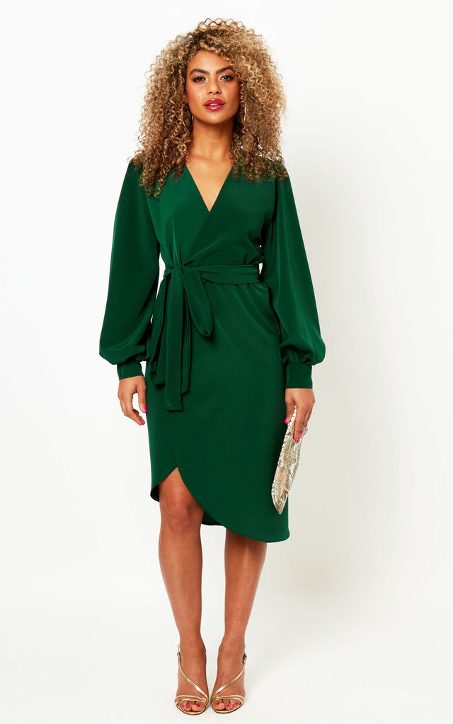 Emerald Green Dress with Long Balloon Sleeves by Silver Birch