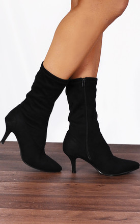 Sock Kitten Heel Ankle Boots in Black by Shoe Closet