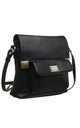 CLASSIC FLAP TOP FRONT POCKET CROSS BODY BAG BLACK by BESSIE LONDON